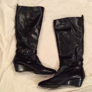 FINAL PRICE Bandolino Black Leather Wedge Boots